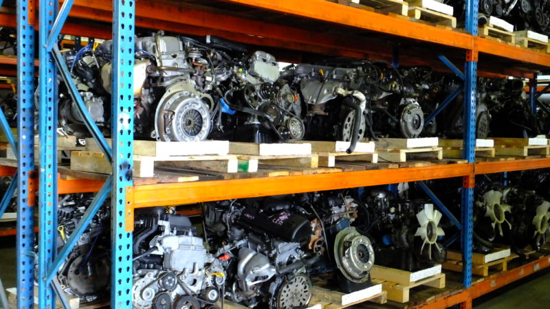 Low Mileage Engines neatly stored